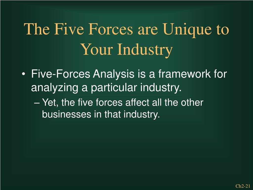 Five-Forces Analysis is a framework for analyzing a particular industry.