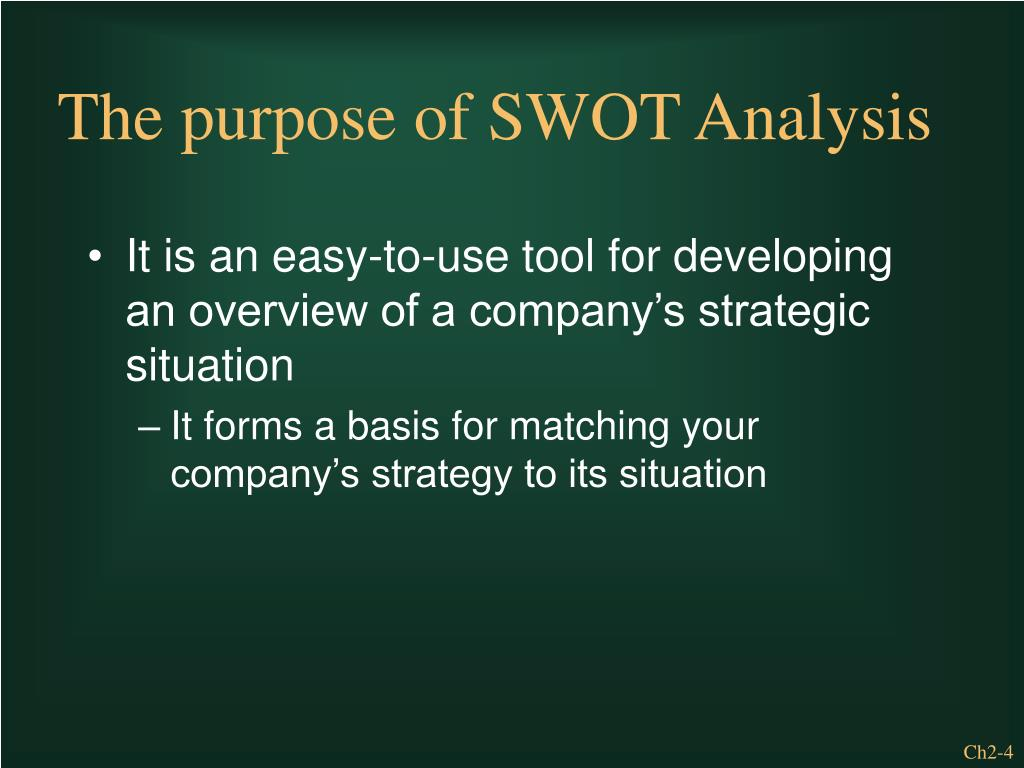 It is an easy-to-use tool for developing an overview of a company's strategic situation