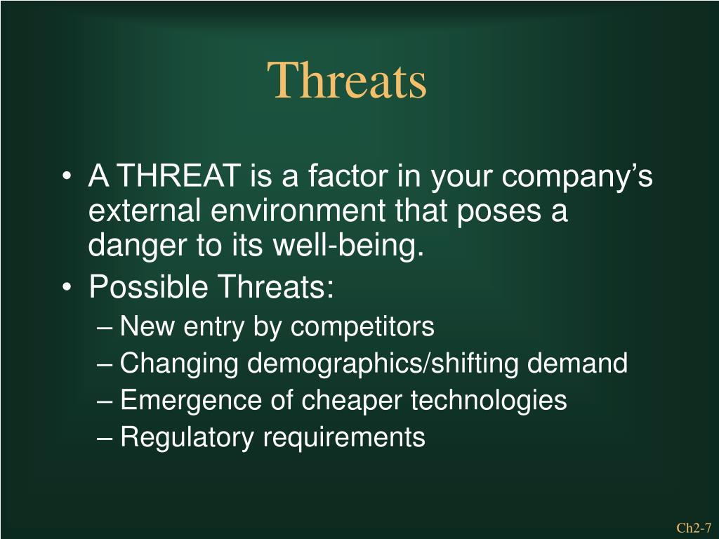 A THREAT is a factor in your company's external environment that poses a danger to its well-being.