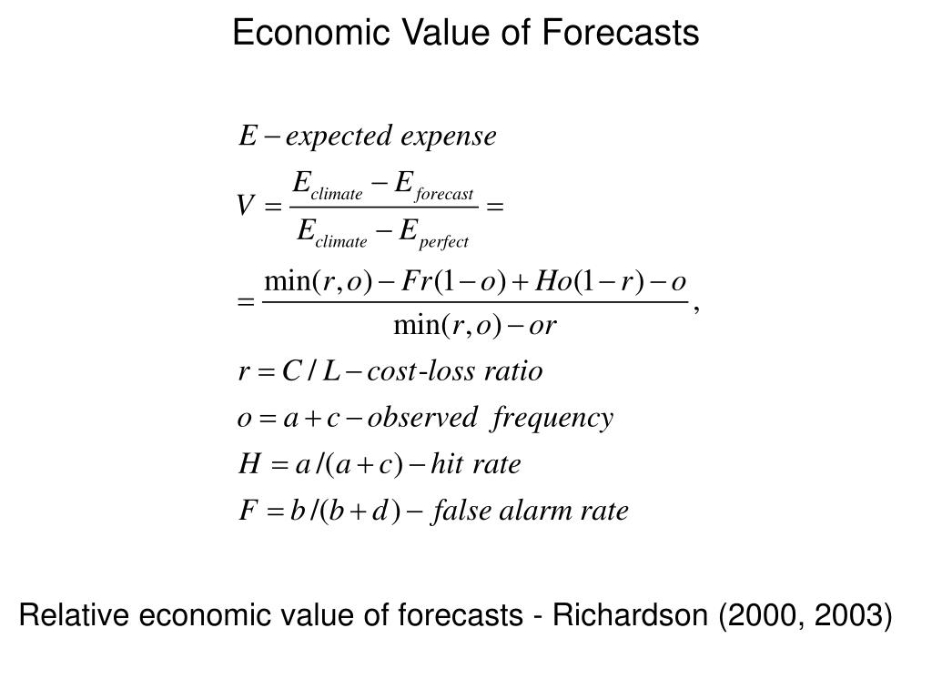 Economic Value of Forecasts