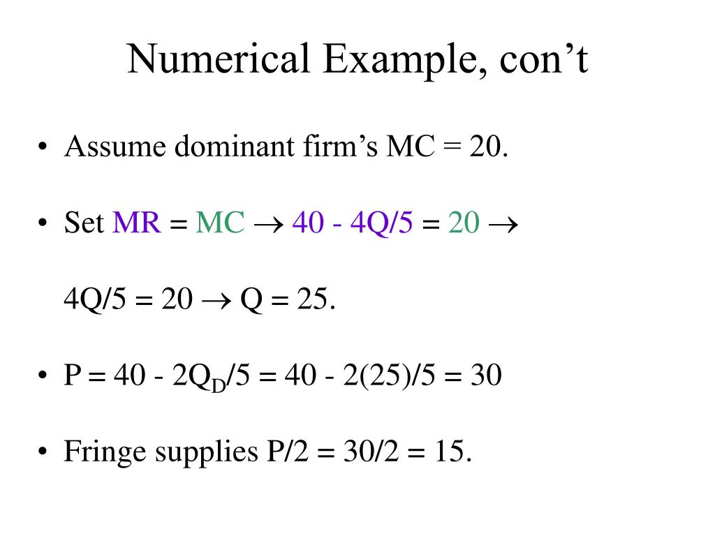 Numerical Example, con't