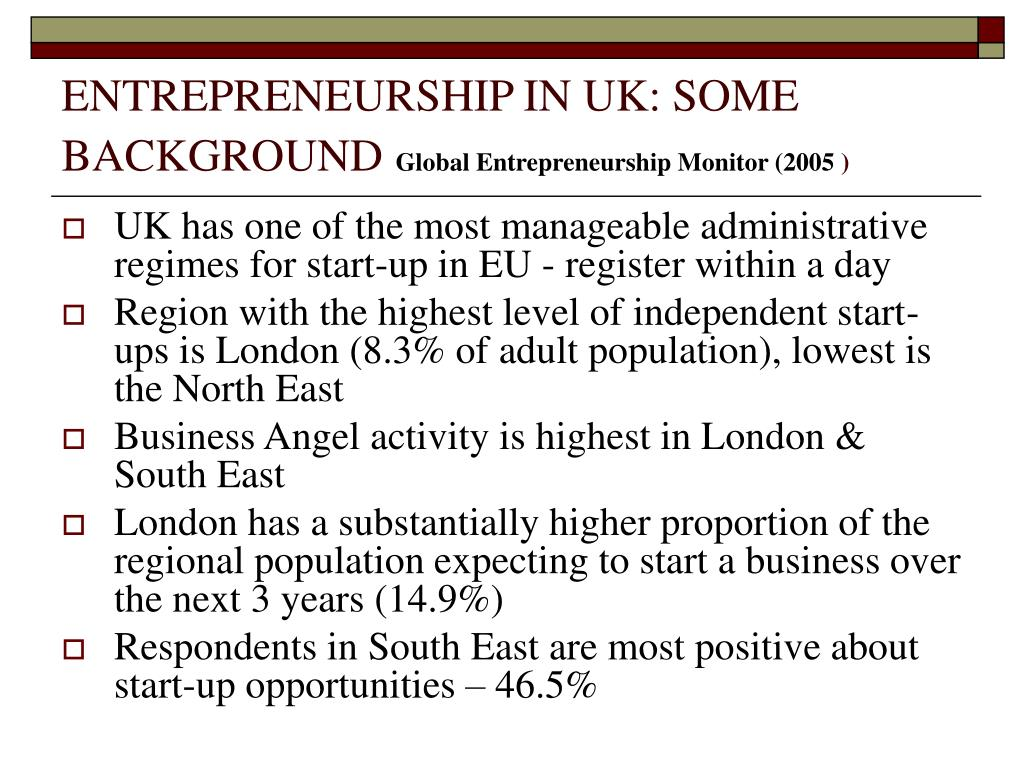 ENTREPRENEURSHIP IN UK: SOME BACKGROUND