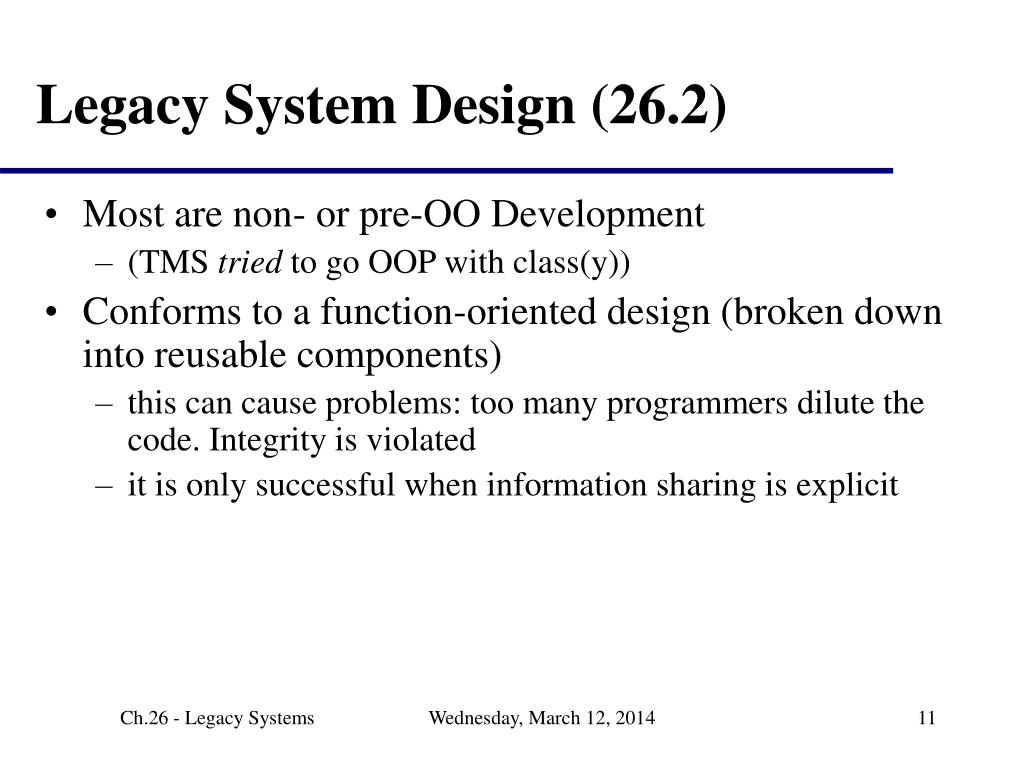 Legacy System Design (26.2)