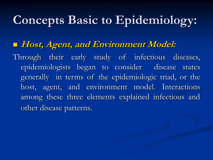 Concepts Basic to Epidemiology: