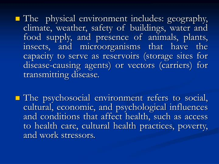 The  physical environment includes: geography, climate, weather, safety of buildings, water and food supply, and presence of animals, plants, insects, and microorganisms that have the capacity to serve as reservoirs (storage sites for disease-causing agents) or vectors (carriers) for transmitting disease.