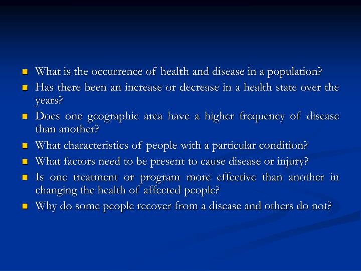 What is the occurrence of health and disease in a population?