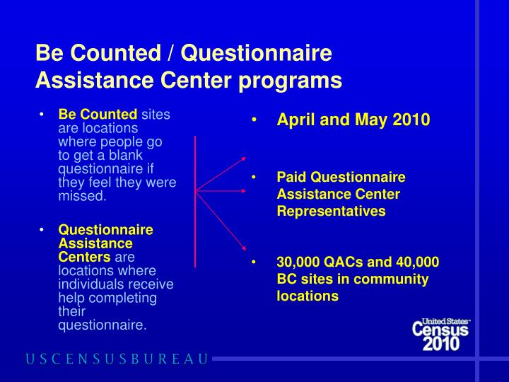 Be Counted / Questionnaire Assistance Center programs