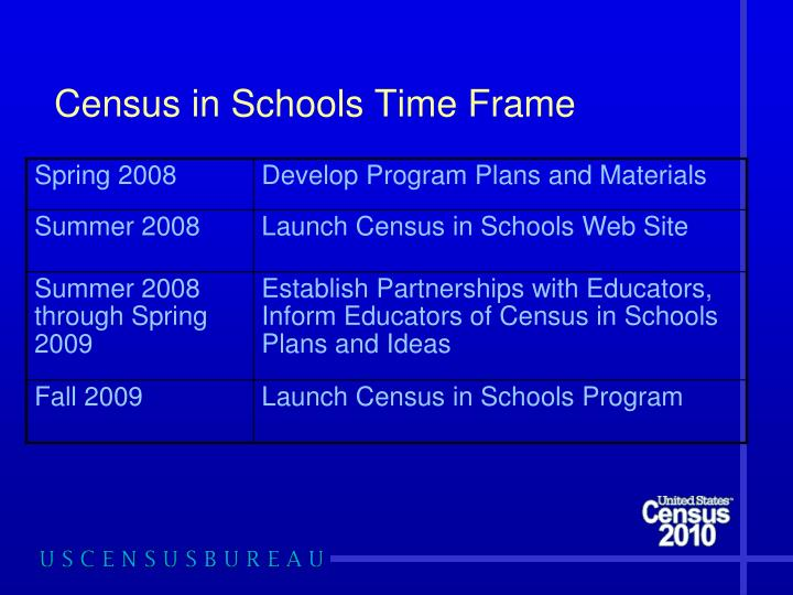 Census in Schools Time Frame