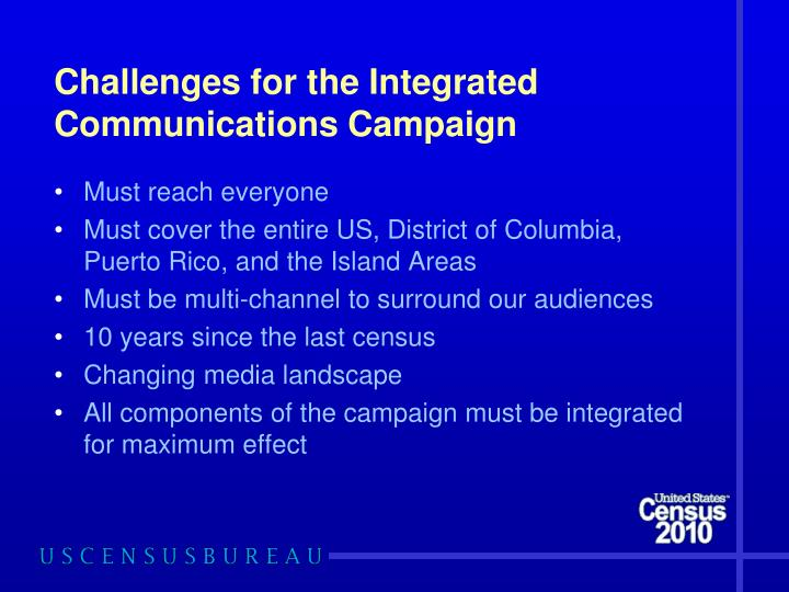 Challenges for the Integrated Communications Campaign