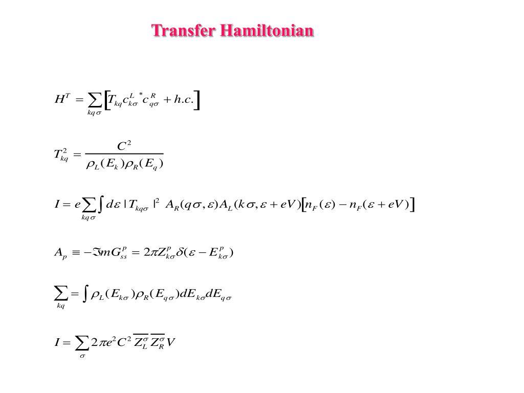 Transfer Hamiltonian
