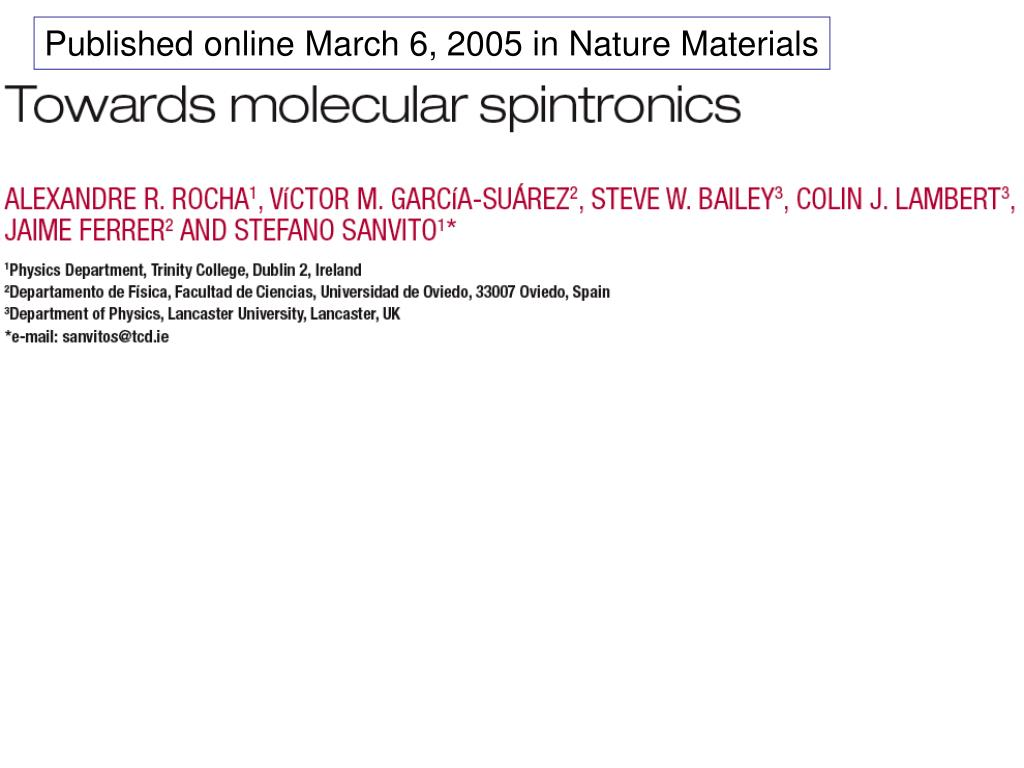 Published online March 6, 2005 in Nature Materials