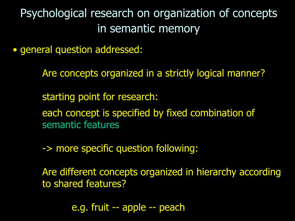 Psychological research on organization of concepts in semantic memory