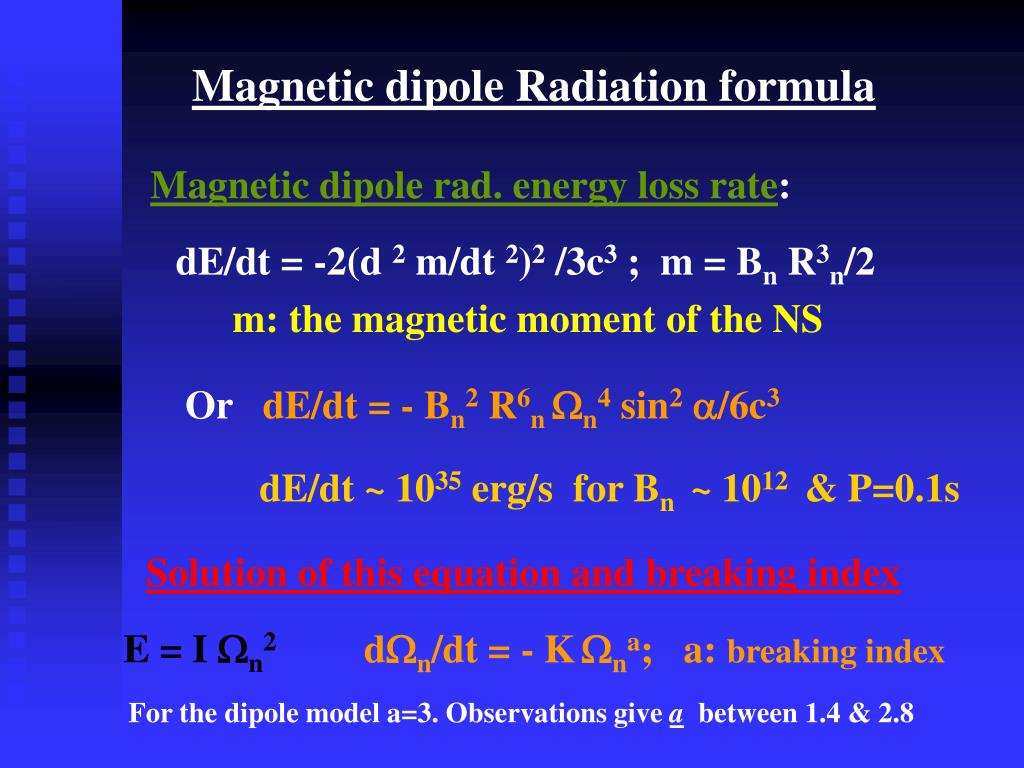 Magnetic dipole Radiation formula