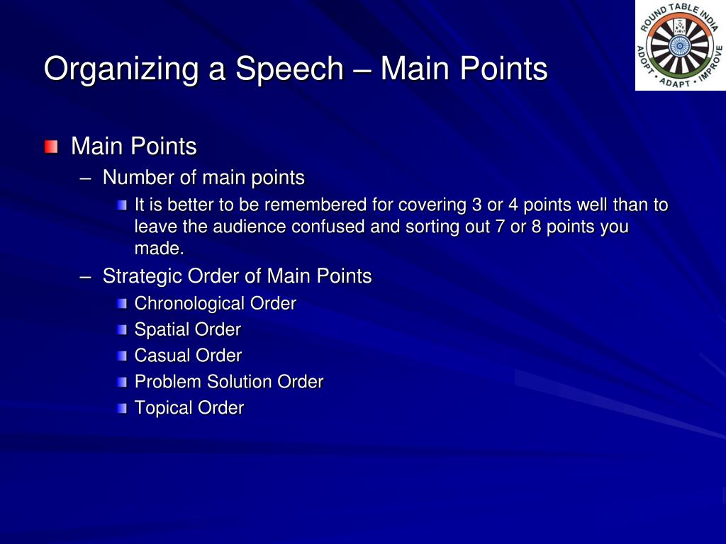 Organizing a Speech – Main Points