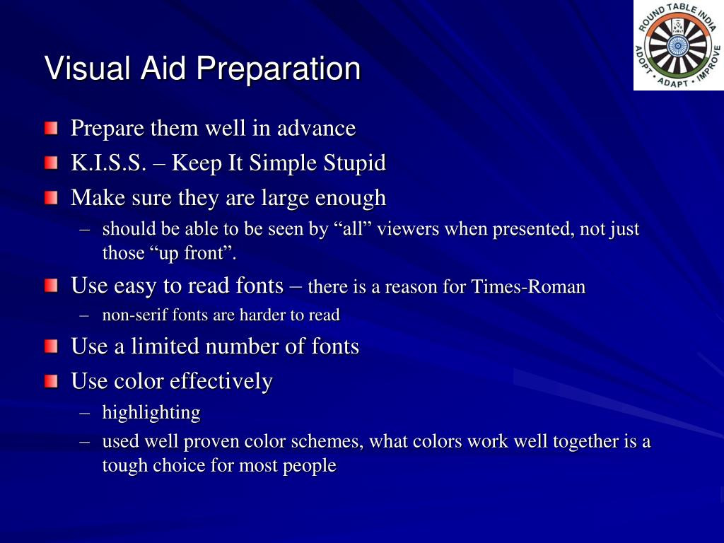 Visual Aid Preparation