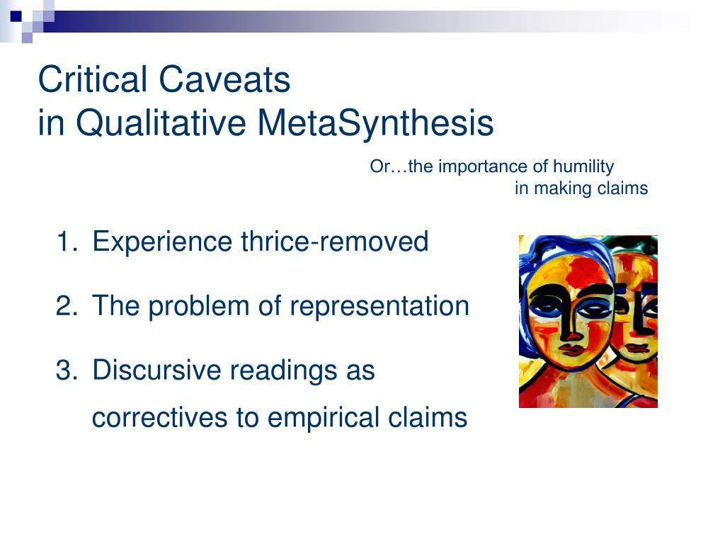 metasynthesis A metasynthesis was later conducted to explore the 19 interviews as one data set categories were identified, and important factors in eol care emerged.