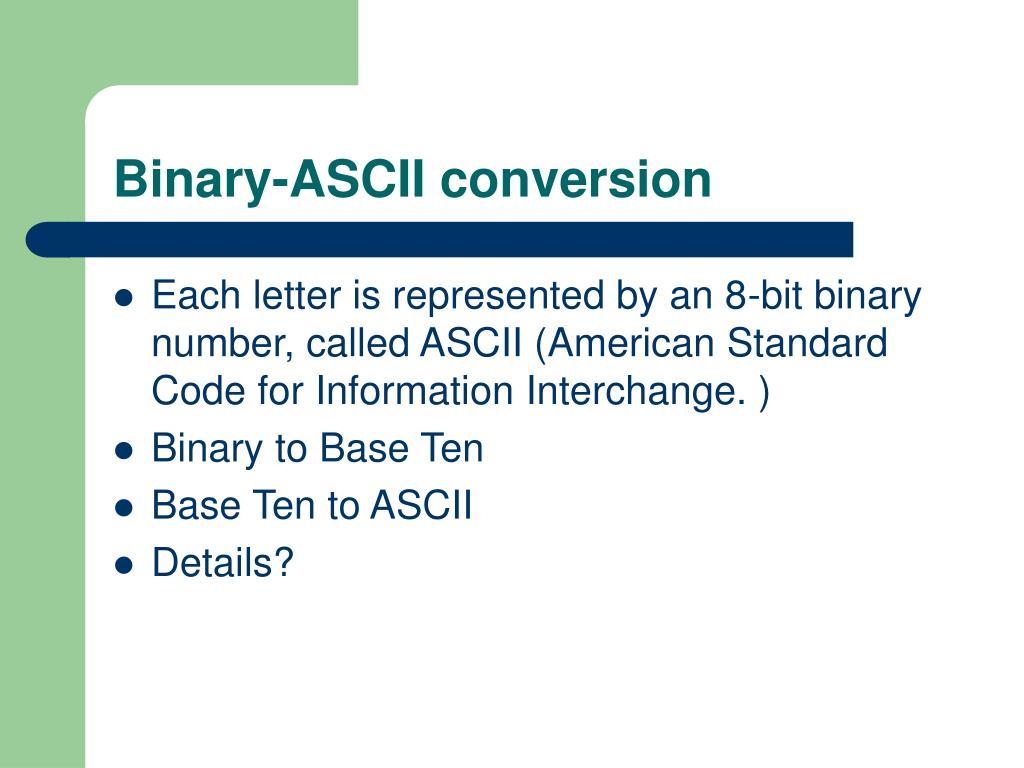Binary ascii conversion chart