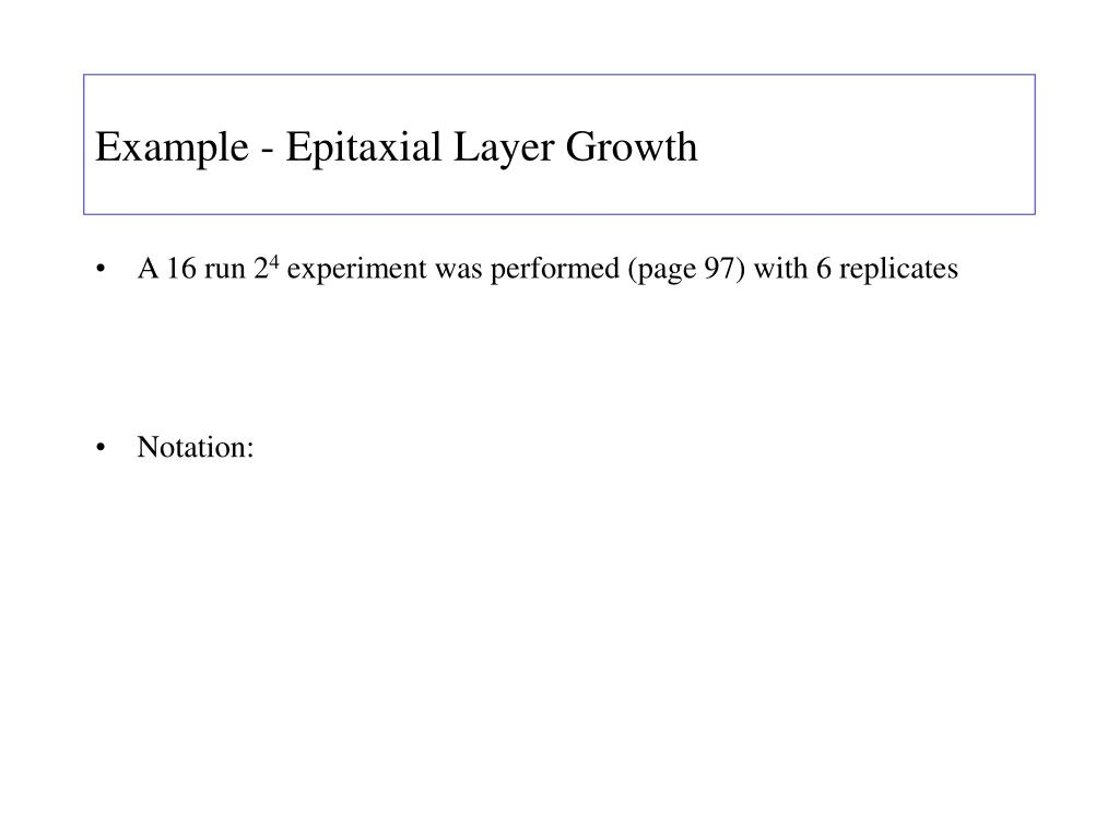 Example - Epitaxial Layer Growth