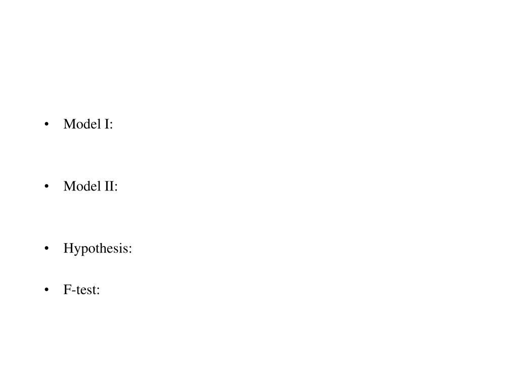 Model I: