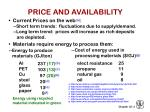 price and availability