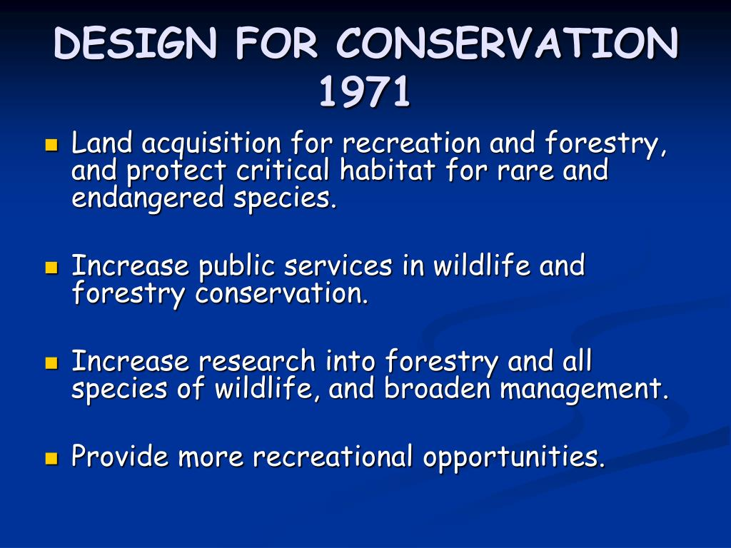 DESIGN FOR CONSERVATION