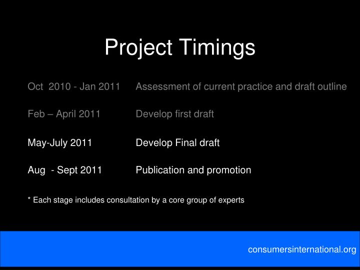 Project Timings