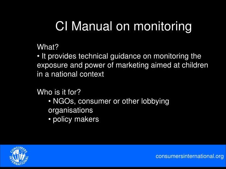 CI Manual on monitoring