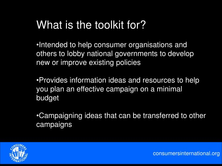 What is the toolkit for?