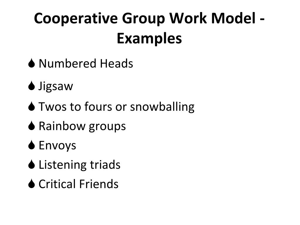 Cooperative Group Work Model - Examples