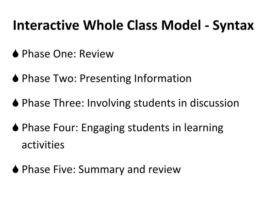 Interactive Whole Class Model - Syntax