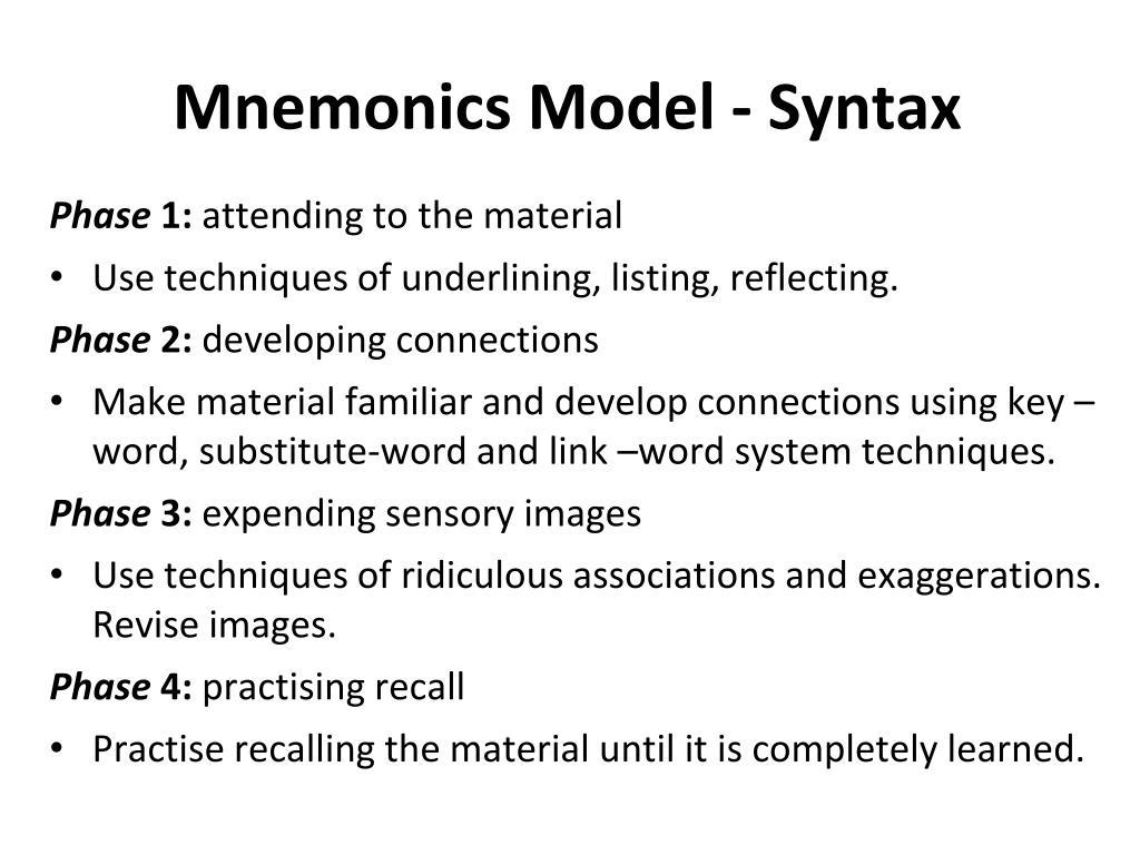 Mnemonics Model - Syntax