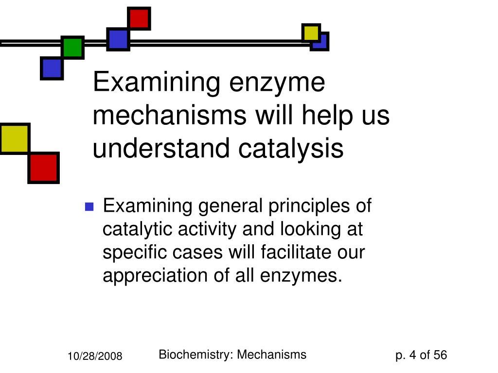 Examining enzyme mechanisms will help us understand catalysis