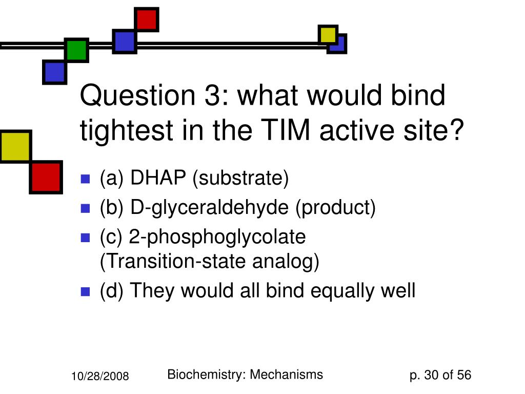 Question 3: what would bind tightest in the TIM active site?