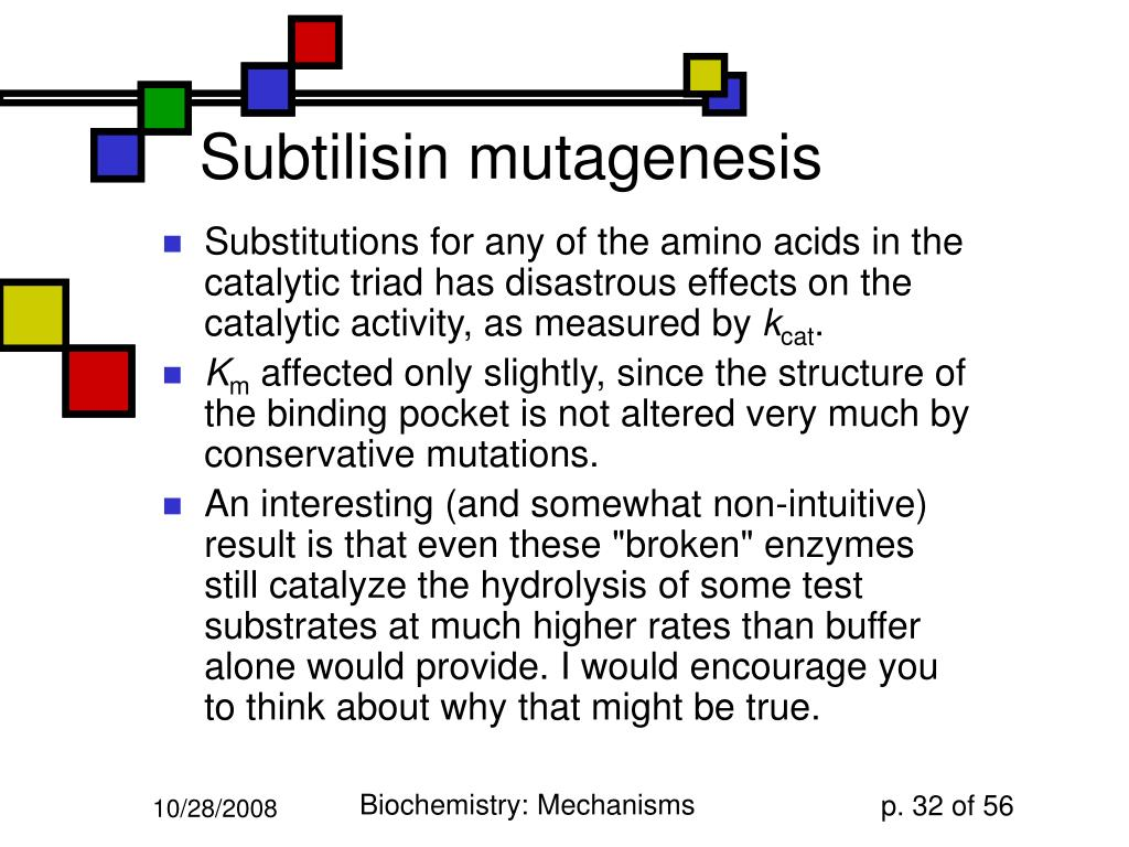 Subtilisin mutagenesis