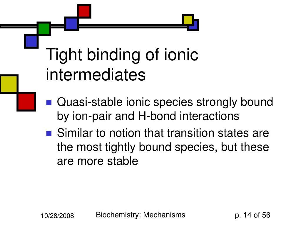 Tight binding of ionic intermediates