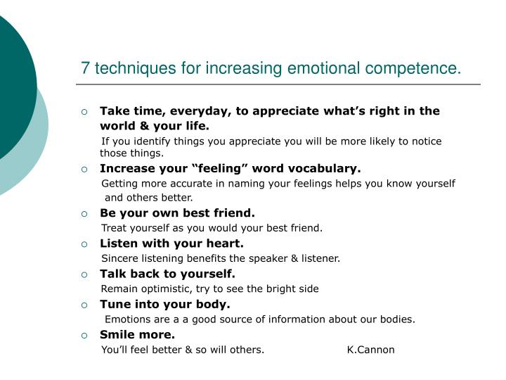 7 techniques for increasing emotional competence.