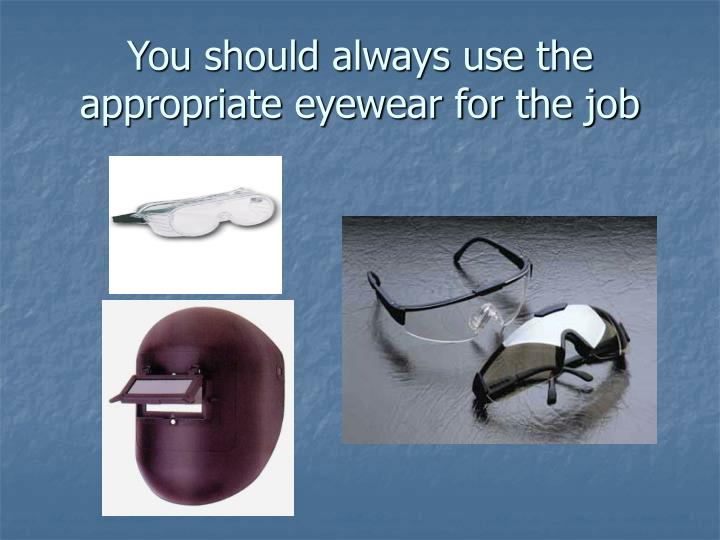 You should always use the appropriate eyewear for the job