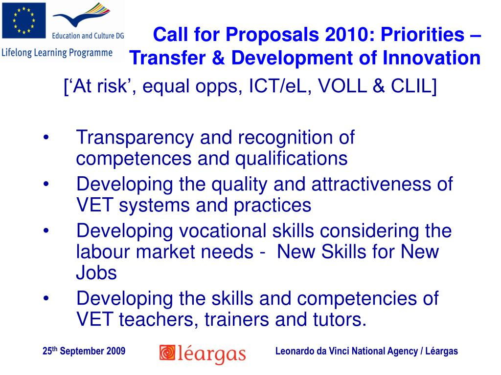 Call for Proposals 2010: Priorities – Transfer & Development of Innovation