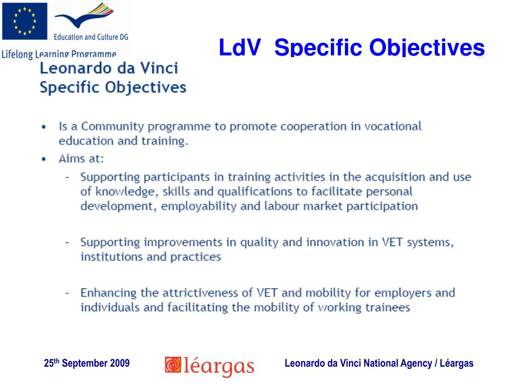 LdV  Specific Objectives