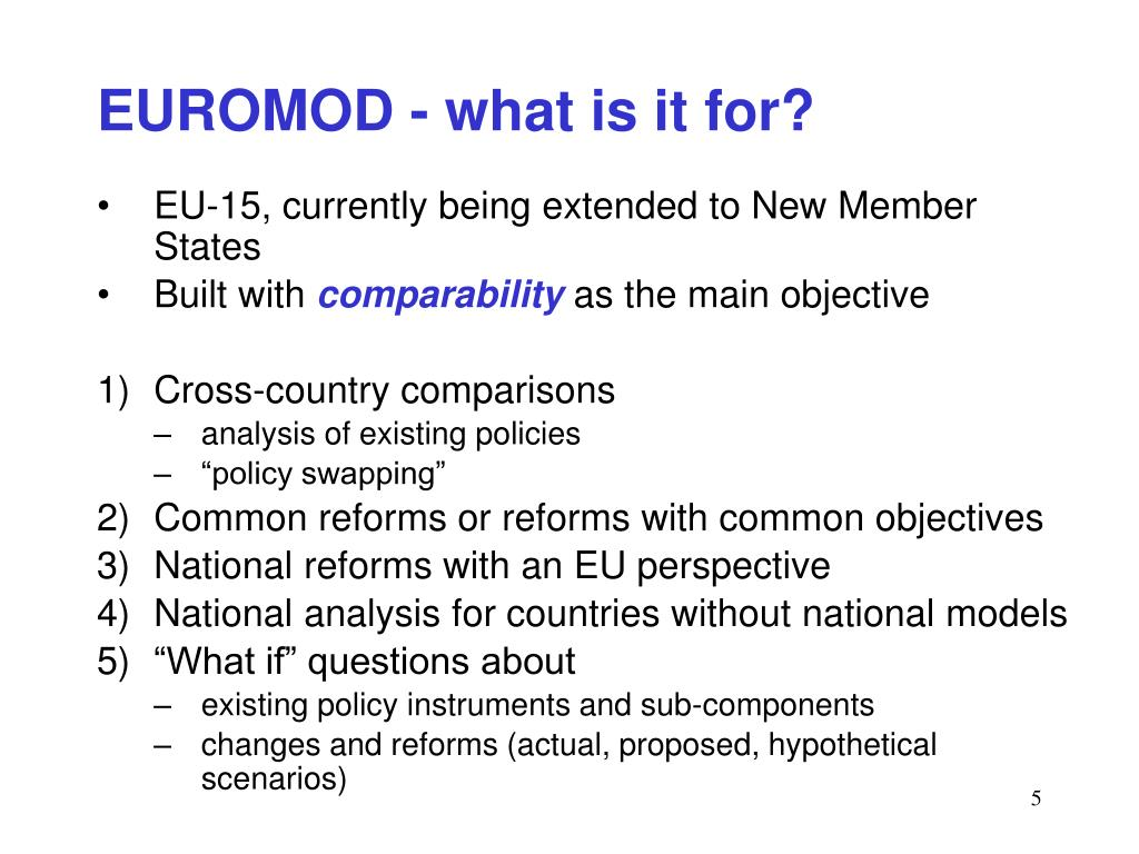 EUROMOD - what is it for?