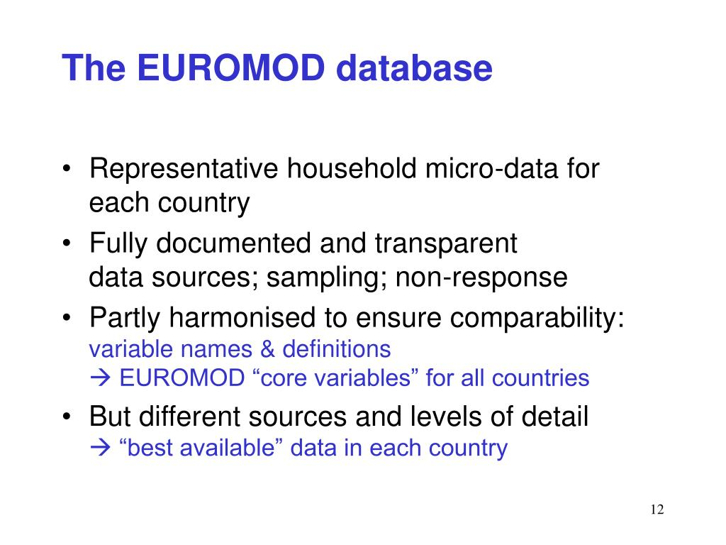 The EUROMOD database