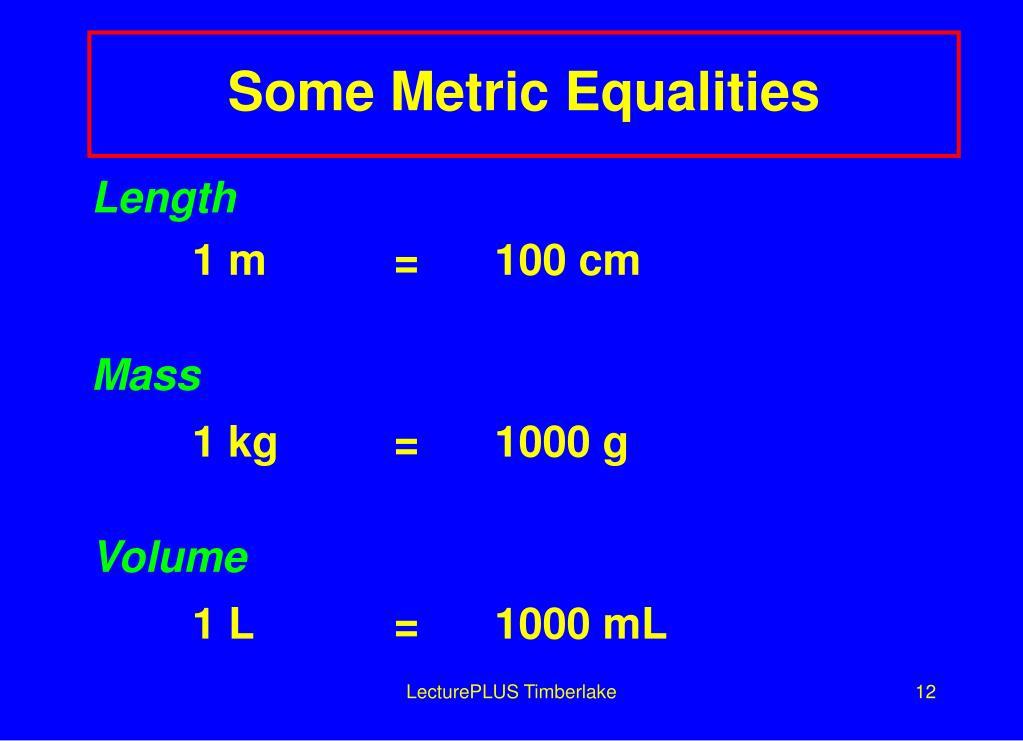 Some Metric Equalities