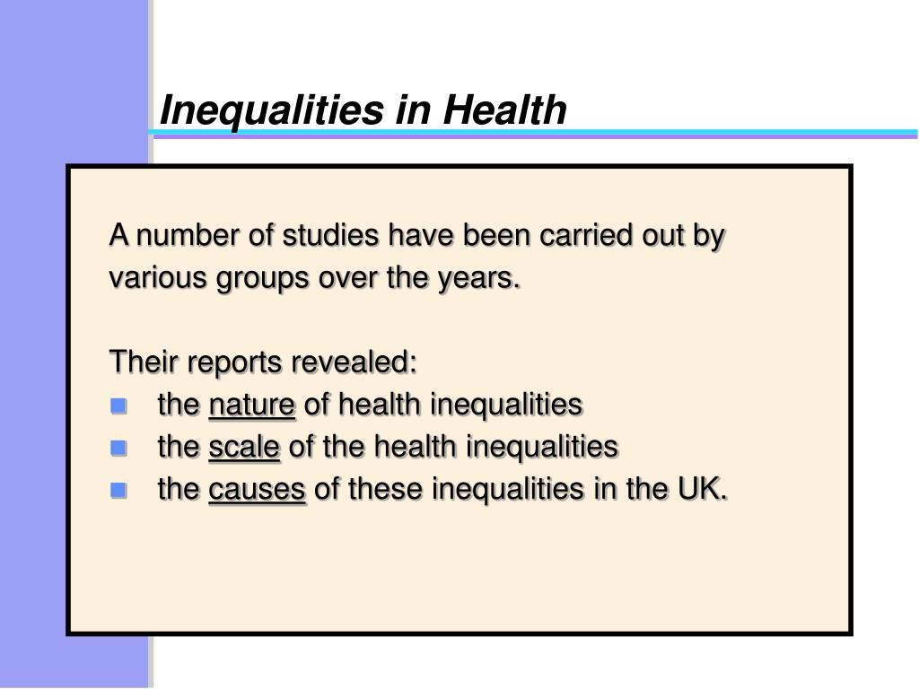 nature and extent of health inequalities The persistent race inequalities in health and social care  the report analyses the nature, extent and variability of age discrimination in.