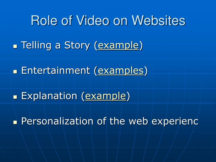 Role of Video on Websites