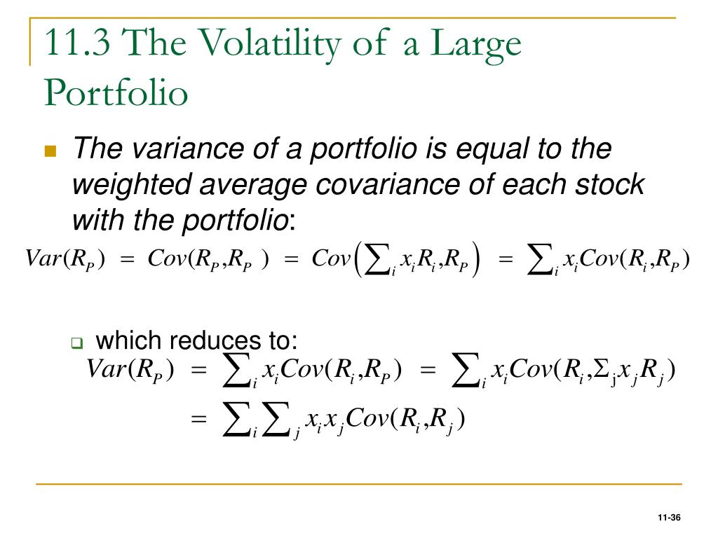 11.3 The Volatility of a Large Portfolio