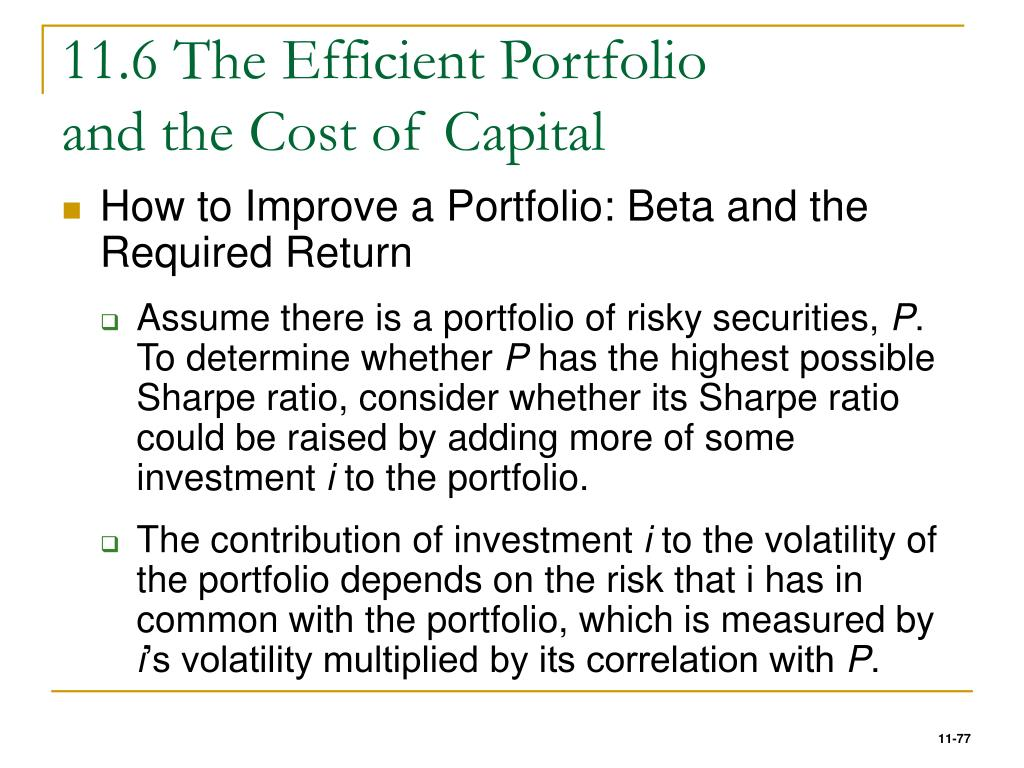 11.6 The Efficient Portfolio