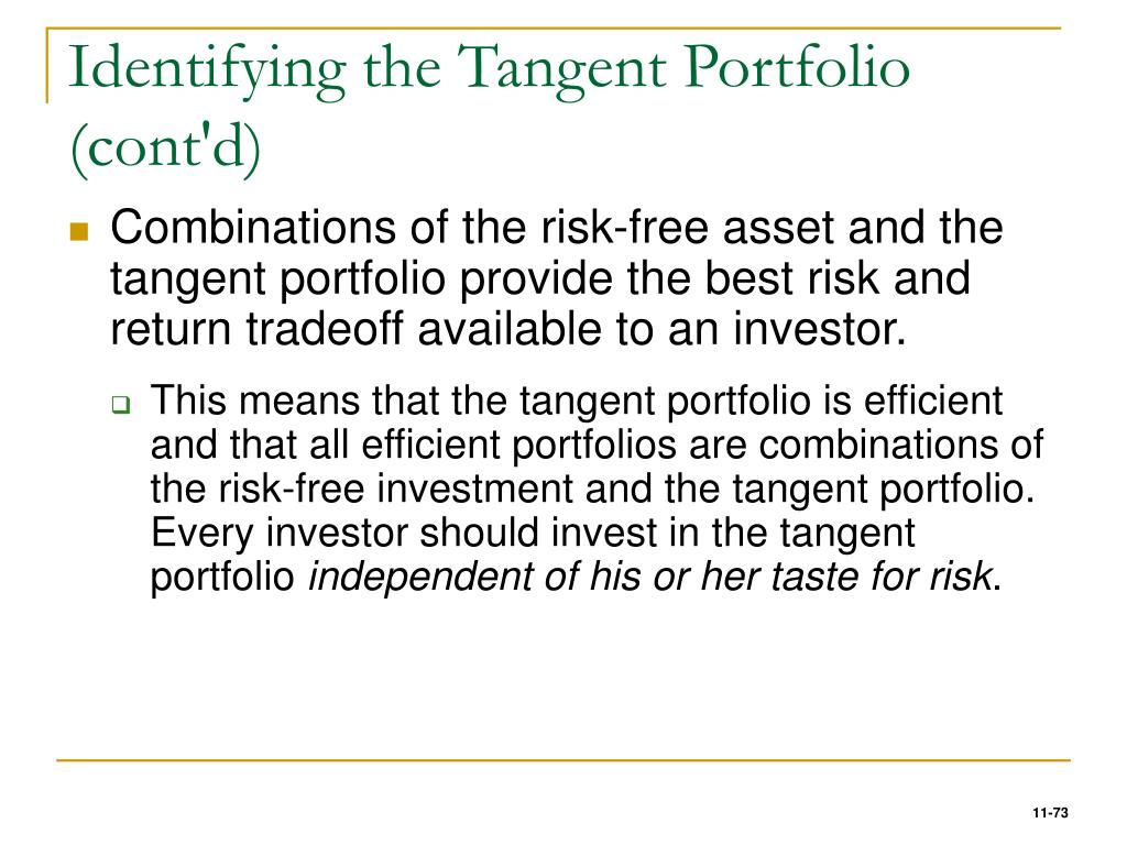Identifying the Tangent Portfolio (cont'd)