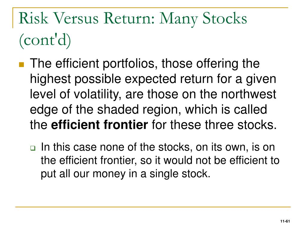 Risk Versus Return: Many Stocks (cont'd)