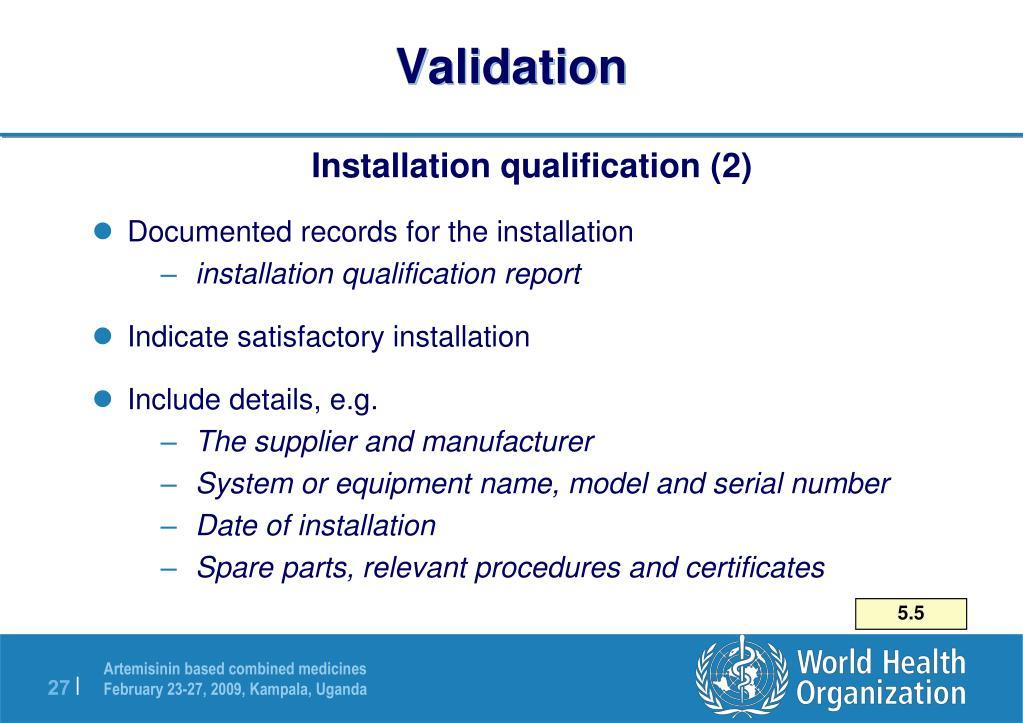 Installation Installation Qualification Protocol