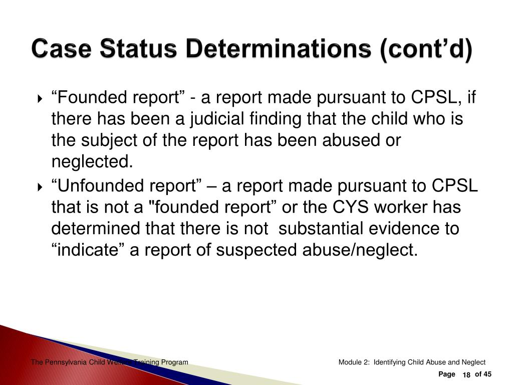 Case Status Determinations (cont'd)